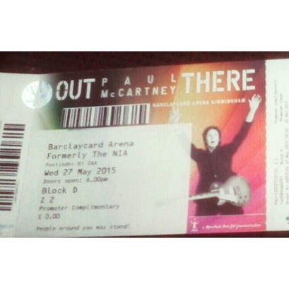 Paul McCartney Out There 27th May Birmingham Barclaycard Arena